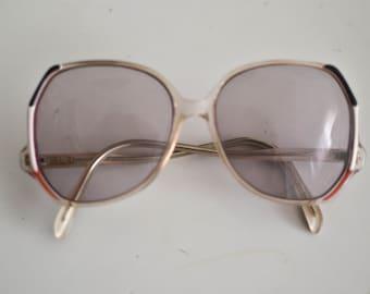 Vintage 70s french oversized eyeglasses - blue / white / red frame french flag