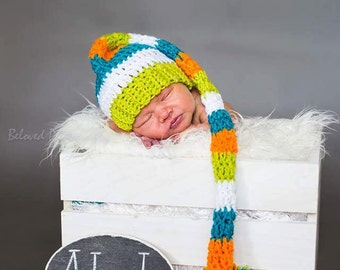 Handmade Extra Long Crochet Stocking Cap Elf-Tail Hat Newborn Baby Infant Toddler Photo Prop Shower Gift Custom Colors Available Boys Girls