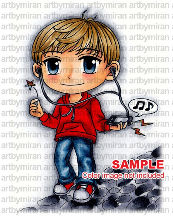 Digital Stamp - Jammin Jayden (ABM003), Digi Stamp, Coloring page, Printable Line art for Card and Craft Supply