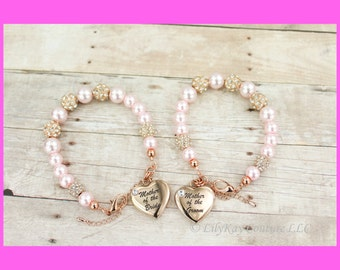 Mother of the Bride Gift Mother of the Groom Rose Gold Mother of the Bride Bracelet Rose Gold Bracelet MOB MOG Charm Bracelet Rose Gold MOB