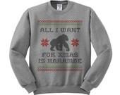 Harambe Christmas Crewneck Sweater, Christmas Party, Gorilla Shirt, Cincinnati Zoo, RIP Harambe Shirt, All I Want For Christmas Is Harambe