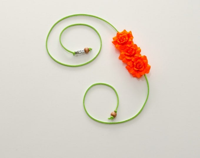 Neon Orange Rose Side Flower Crown