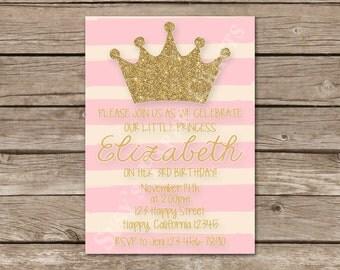 Princess First Birthday Invitation, Digital File, You Print