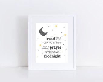 Bedtime Prayer, Nursery Art Print, Read Me a Story, Tuck Me In Tight, Printable Nursery, Nursery Decor, 8x10 Instant Download Printable