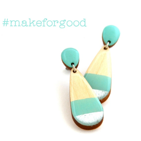 Teardrop Earrings in Silver & Turquoise - #MakeForGood