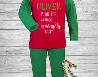 Personalised Kids Christmas PJ's / Pyjamas / Xmas / Eve Box / With Name / Custom / Luxury / Santa / Gift / Child / Children / Baby