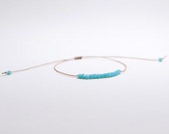 Noirmoutier square crystal blue, beige or red cord bracelet