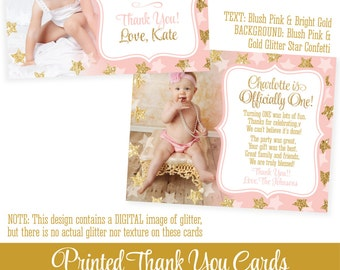 """Twinkle Little Star Birthday Thank You Card w Photo - Pink Gold Glitter - Personalized Custom Professionally Printed FLAT Cards 5.25""""x4.25"""""""