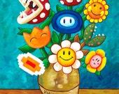 Mario Van Gogh's Flower Vase - Nintendo Print - Alternative Vincent Van Gogh Sunflowers - Geek Painting - Video Game Art - Yoshi's Island