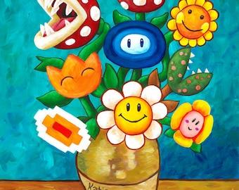 Mario Van Gogh's Flower Vase - Nintendo Painting - Alternative Vincent Van Gogh Sunflowers - Geek Parody - Video Game Art - Yoshi's Island