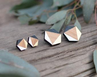 Black tie - hexagon rosewood stud earrings