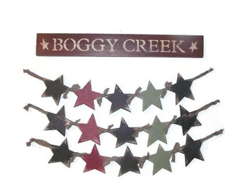 """Primitive Star Swag, Primitive Decor, Five Stars, 30"""" Long, Wall Hanging, Country Home Decor, Handmade, Birch Wood Stars. Made in the USA"""
