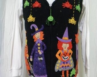 Halloween Sweater Vest (Size: Women's Medium), Teacher Halloween Vest, Witch Vest, Spider Vest, Halloween Witches, Spider Webs