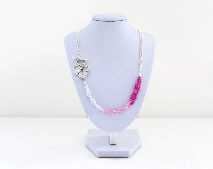 Pink beaded necklace, handmade in the UK