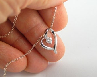 Silver tiny heart cz necklace, small tinny minimalist dainty heart charm necklace with cz crystal, sterling silver chain necklace heart