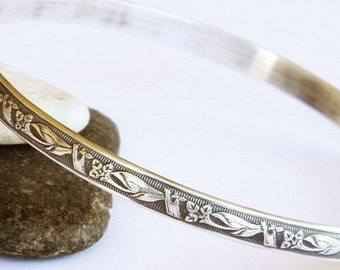 Art Deco Lilies Pattern Solid Sterling Bangle - Sterling Silver Bangle Bracelet, Simple Bracelet, Stacking Bracelets