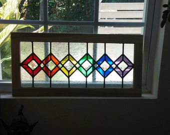 Rainbow squares Stained glass suncatcher, Stained glass Lead panel