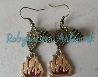 Twin Peaks Inspired Fire Walk With Me Earrings with Bronze Owls, Gold & Red Fire and Pine Cones on Hooks