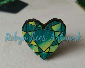 Green, Yellow & Blue Wooden Heart Adjustable Bronze Filigree Ring, Faceted Painted