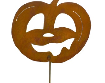 Laughing Jack-o-Lantern Metal Yard Stake,Halloween Garden Art GS93