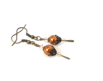 Copper pearl Filigree Antiqued gold earring Edwardian earring, with Swarovski crystal neo Victorian earring steampunk
