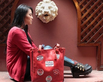 Red leather tote bag, red leather bag, applique purse