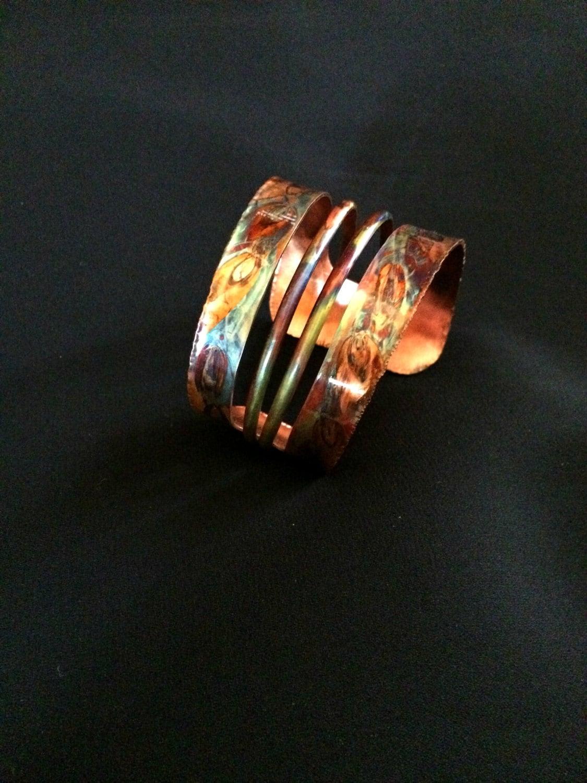 Copper Cuff Bracelet Copper Bangle Flame By