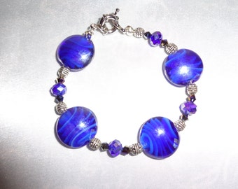 Blue Lampwork Glass Crystal, And silver beaded Bracelet