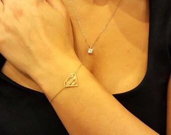 14k Solid Gold Superman Bracelet, Letter S Bracelet, Custom Bracelet Letter Bracelet, Choose your letter bracelet, gold option