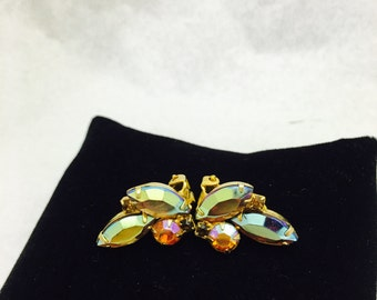 Vintage Iridescent Costume Jewelry Clip On Earrings