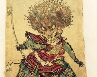 Antique Japanese Fairy Tale Series No. 19 The Ogres of Oyeyama Crepe Paper Wood Block Book