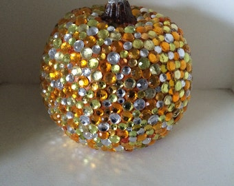 Rhinestone Pumpkin, Fall and Halloween Decor