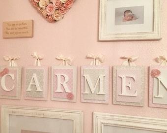 Nursery letters, Pink and Cream Nursery Letters,Girls Nursery Letters,Nursery Wooden Letters,Wooden Letters,Custom Nursery Letters, Nursery