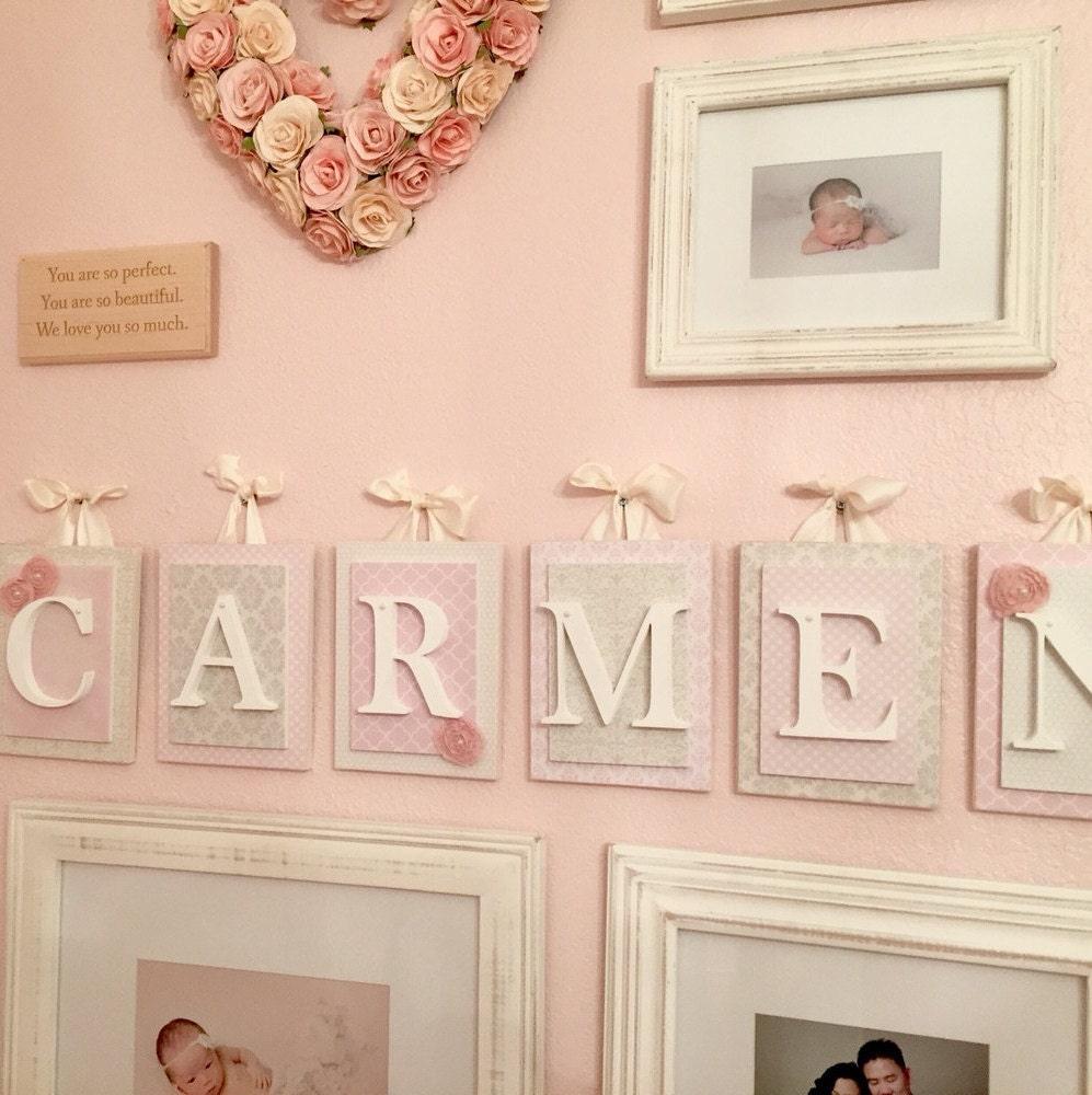 Nursery Letters Pink And Cream Nursery Lettersgirls Nursery