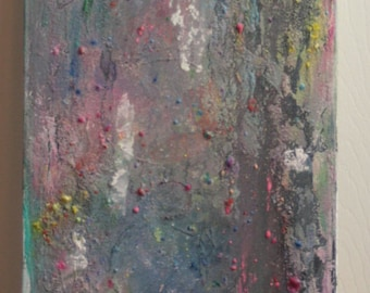 ORIGINAL Painting, Concrete, Gray, Narrow, Mixed Media, Watercolor Painting, Acrylic Painting, Wall Hanging, Large Wall Art, 36 x 12 in