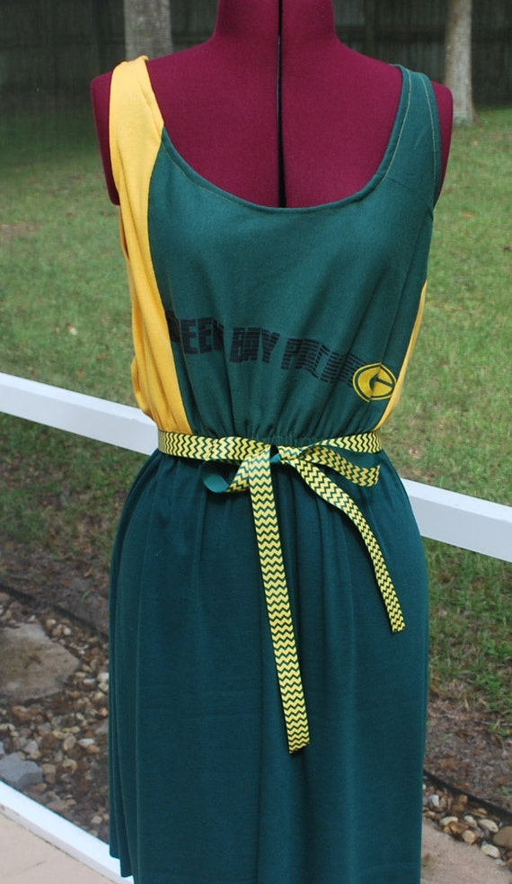 Green bay packers custom game day tank dress upcycled t shirts for Green bay packers wedding dress