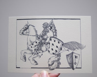 Joust Drawing, Jousting Knight Postcard, Jousting Knight Illustration, Destrier, Medieval Charger, Original Postcard, Medieval Art, A6 Print