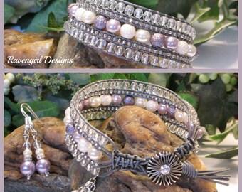 STARDUST Beaded Leather Wrap Bracelet, 5 Row, Lavender Rose, Wedding Jewelry, Boho Vintage Style Handmade Jewelry, Ravengirl Design