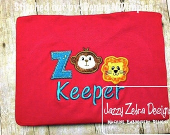 Zoo Keeper Applique embroidery Design - zoo Applique Design - monkey Appliqué Design - lion Applique Design