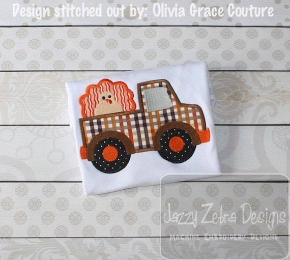 Truck with Turkey Appliqué Embroidery Design - truck appliqué design - turkey appliqué design - Thanksgiving appliqué design - boy applique