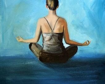 "Yoga Oil Painting ""Asana"" Happy Original Art by Tina Petersen"