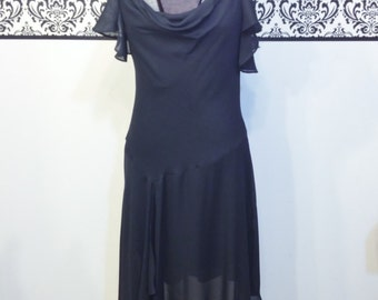 1980's Sheer Black Chiffon Pin Up Cocktail Dress, Size Small, Vintage Black Ballerina Dress, 80's Does 50's Little Black Dress Size Small