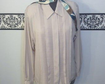 1980's Taupe Hipster Secretary Blouse by Christie and Jill, Size XL XXL, Vintage 1980's Pleated Plus Size Blouse, 80's Tan Secretary Shirt