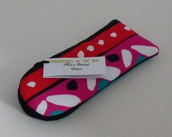 Narrow, Soft Glasses Case, Multi-coloured Stripe