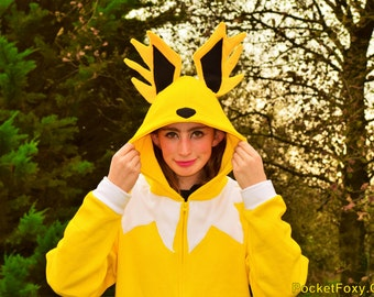 Jolteon Custom Hoodie Customize your own! Anime Cosplay Nintendo Hooded Top Cute Animal Electric Yellow Custom Colour Pockets Fleece Eevee