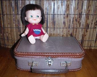 Vintage Child's Small Plaid Suitcase - Vintage Small Suitcase - Vintage Small Doll Suitcase - Child Toy Suitcase - Tiny Plaid Play Suitcase