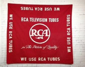 Vintage 1960s RCA Tubes Banner Larger Rca Dealer Banner We Use RCA Tubes Advertising Banner 1960s Rca Victor