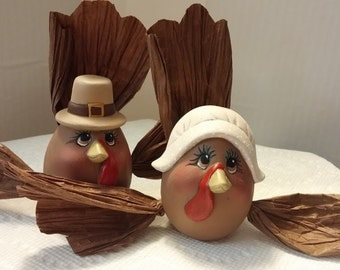 "Mr. & Mrs.Pilgrim Turkey ""Eggs-Pressions"""