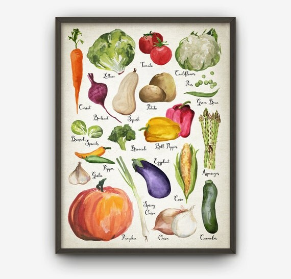 Purple Vegetable Wall Art: Watercolor Vegetables Wall Art Print Vegetable Kitchen Home