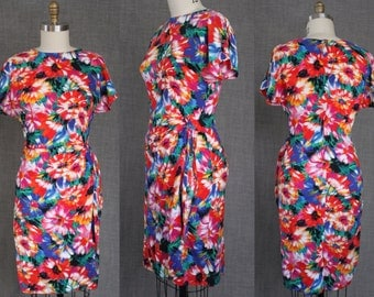 1980s Bright Floral Wiggle Dress